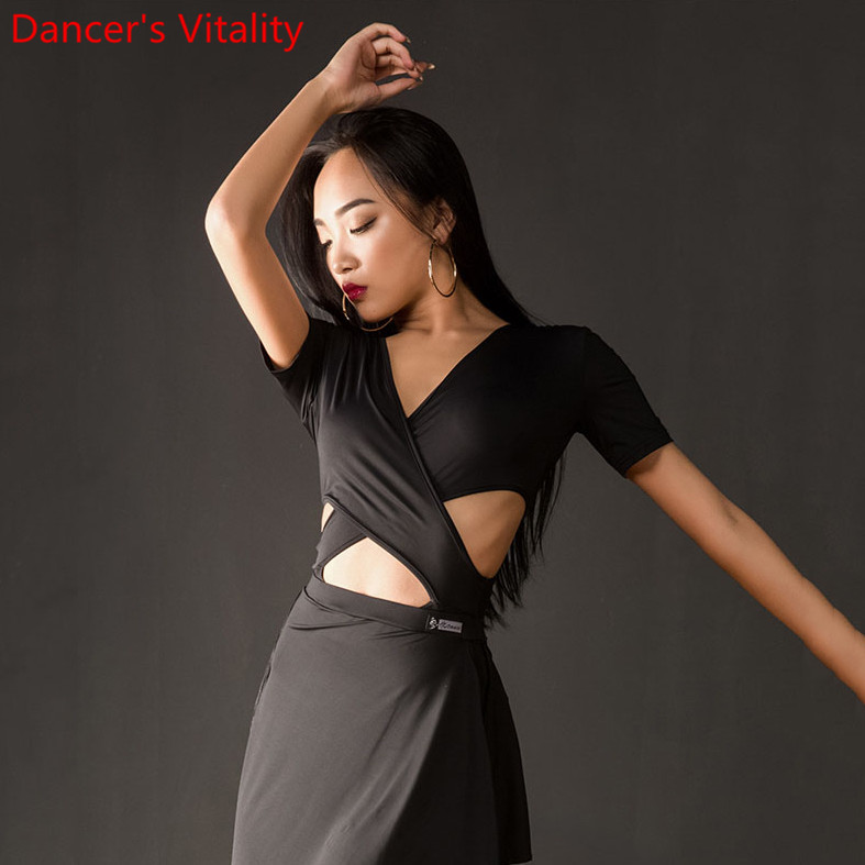 Latin Dance Practice Clothes Women New V Neck Cut Out Body Suit Modern Cha Cha Foxtrot Quickstep Dancing Training Outfits Top