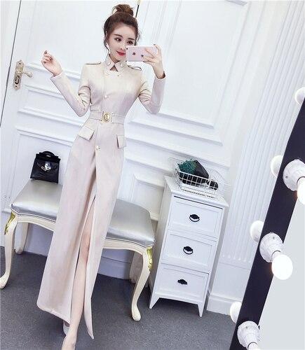 2019 Autumn Winter Women New Long Faux Pu Leather Suede Coat Slim Windbreaker Dress Long Trench Female Outerwear Coat Ka71