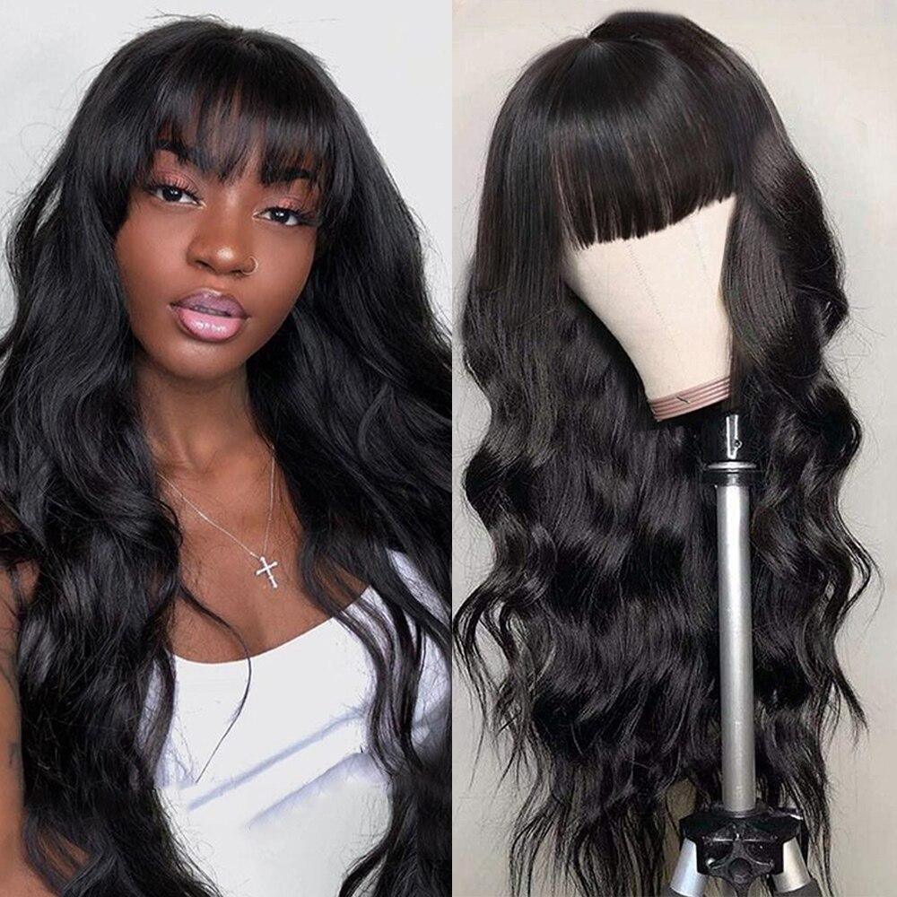 Abijale волнистый парик с челкой, машинный парик, бразильские человеческие волосы Remy, парики для черных женщин, быстрая доставка