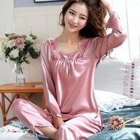 AEOZRING Pajamas Women's Spring and Autumn Long Sleeve Two piece Set Sexy Silk Suit Ice Silk Pajamas Women's Summer