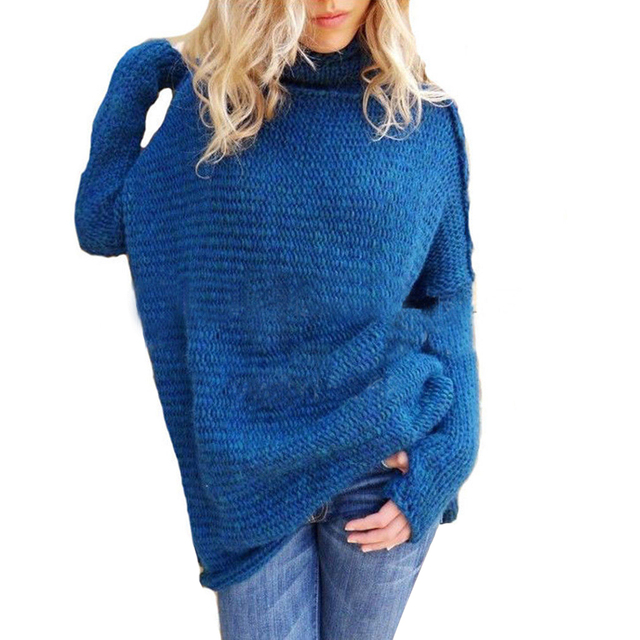 Turtleneck Women Knit Sweater Winter Long Sleeve Women Knitted Tops Lady Solid Pullover Long Sweater Female Oversize Sueter D40 8
