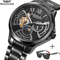 Waknoer luxo tourbillon relógio à prova dwaterproof água homens relógio mecânico moda esqueleto relógio automático preto aço inoxidável|Relógios mecânicos| |  -