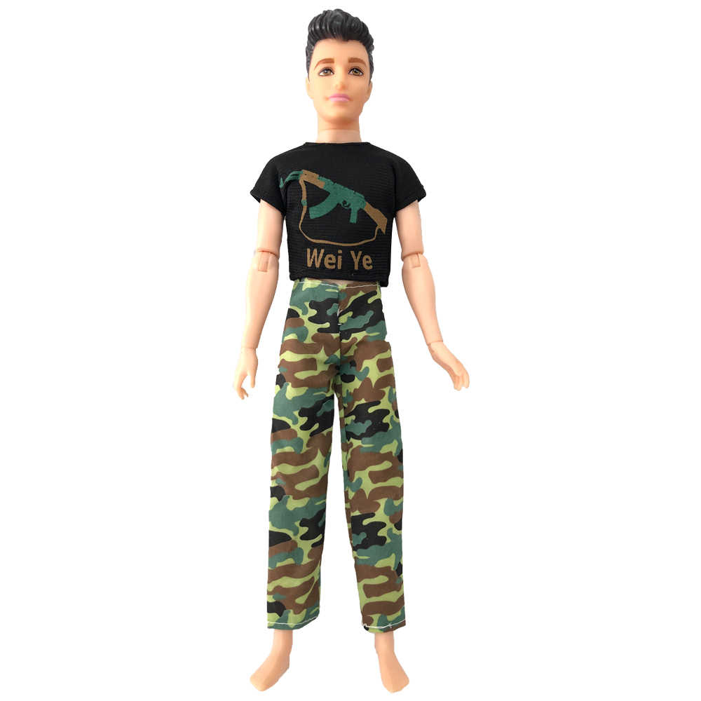 NK 2 unids/set muñeca vestido Top camuflaje imitación CS militar vestido soldado ropa para muñeca Barbie accesorios para Ken muñeca 8X