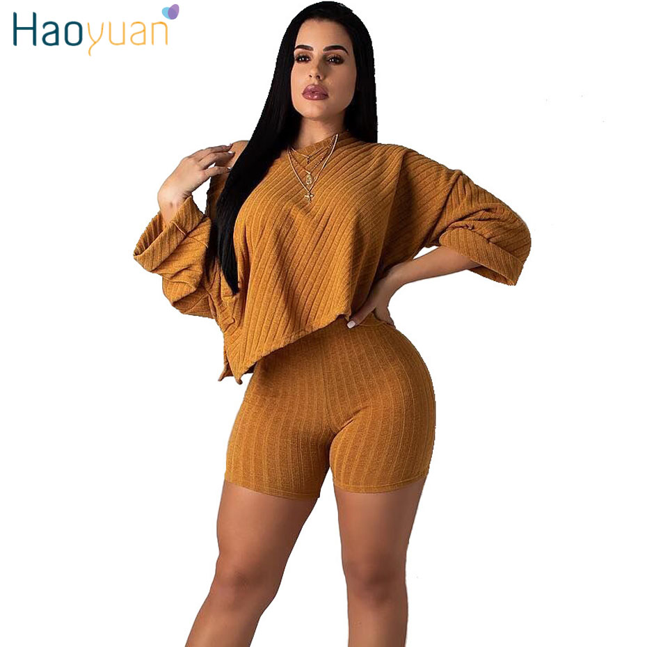 HAOYUAN Two Piece Set Sweatsuit Long Sleeve Loose Tops Biker Shorts Sweat Suit Tracksuit 2 Piece Club Outfits Women Matching Set