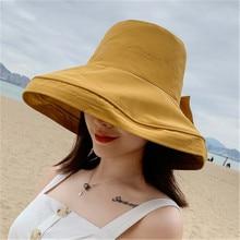 Female Fisherman Hat Shade Sunscreen Black Bowknot Basin Dome M Size Girl Fashion Beach hat Woman Cotton Breathable Korean