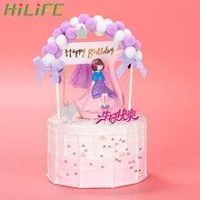 HILIFE 1 шт. флажки для торта на день рождения розовый синий мягкий помпон облако торт Топпер DIY торт Топ флаги фестивальные декорации вечерние принадлежности