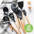 Силиконовые кухонные инструменты Наборы для приготовления пищи ложка для супа шпатель антипригарная лопата с деревянной ручкой специальн...