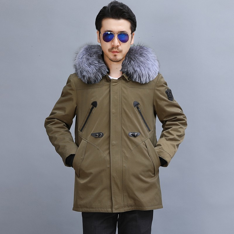 Winter Real Fox Fur Collar Mens Natural Rabbit Fur Lining Overcoat Plus Size 5XL Thick Warm Real Fur Coat Military Casual Parkas