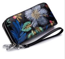 Female vintage black flower card wallet women clutch phone bag coins with a secret ladies leather purse for girls gift