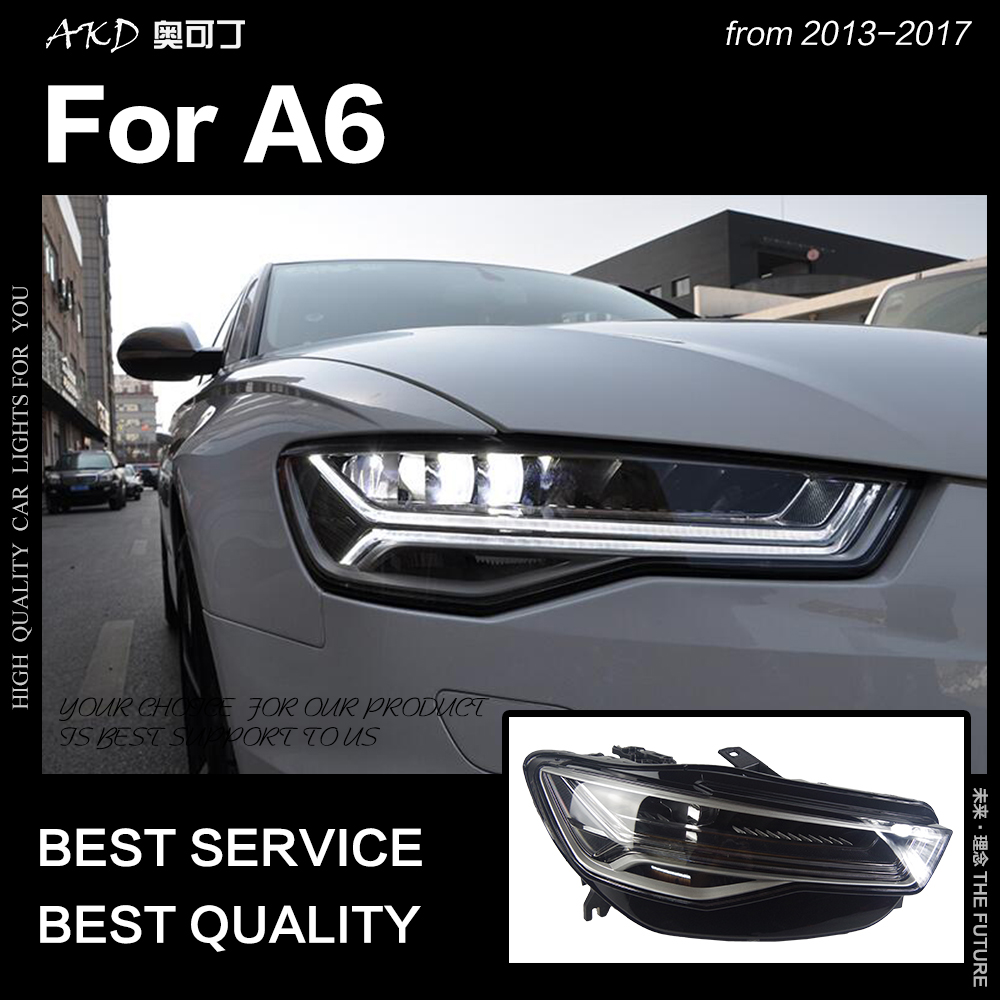 AKD Car Styling for A6 Headlights 2013-2017 Upgrade A6L All LED Headlight DRL Hid Head Lamp Angel Eye Bi Xenon Beam Accessories image