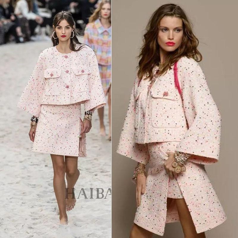 2019 Elegant Ensemble Femme Amazing Two Piece Set Plus Size Tweed Jacket And Skirt Set 5xl 6xl Conjuntos De Mujer Casaco Feminin