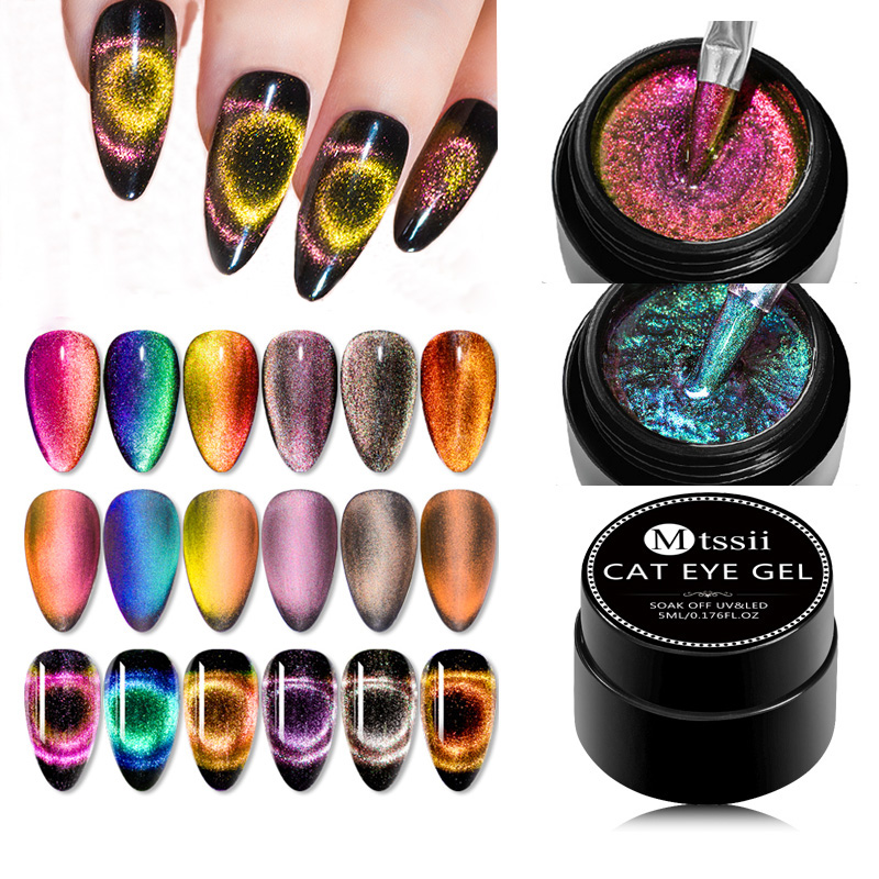 Mtssii 9D Galaxy Cat Eye Nail Gel Polish Chameleon Magnetic Semi Permanent Soak Off UV Nail Varnish Nails Gel Manicure Lacquer