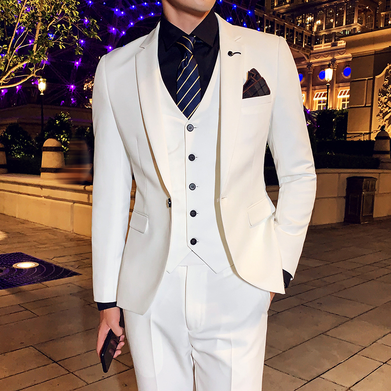 ( Jacket + Vest + Pants ) High-end Brand Groom Wedding Dress Mens White Formal Suit Solid Color Male Casual Business Suit Stage