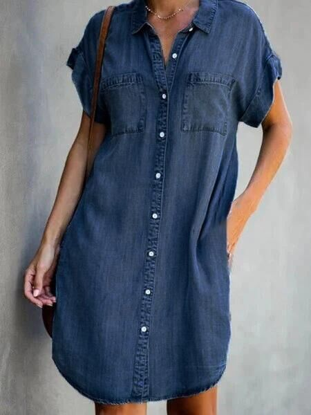 Plus Size Dresses Turn Down Collar Short Sleeve Denim Dress with Pockets Loose Casual Shirt Dress for Women soft Dropshipping 7