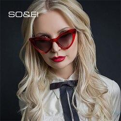 SO&EI Vintage Cat Eye Sunglasses Women Fashion Triangle Candy Color Gradient Eyewear Female Trending Sun Glasses Shades UV400