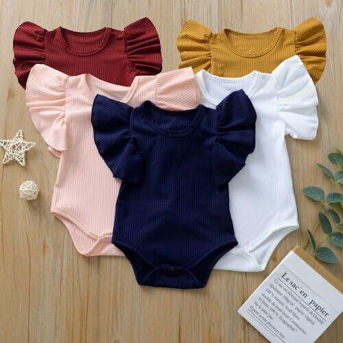 Pudcoco US Stock 0-18M Newborn Infant Baby Girl Cotton Bodysuit Short Sleeve Jumpsuit Clothes Set Sunsuit