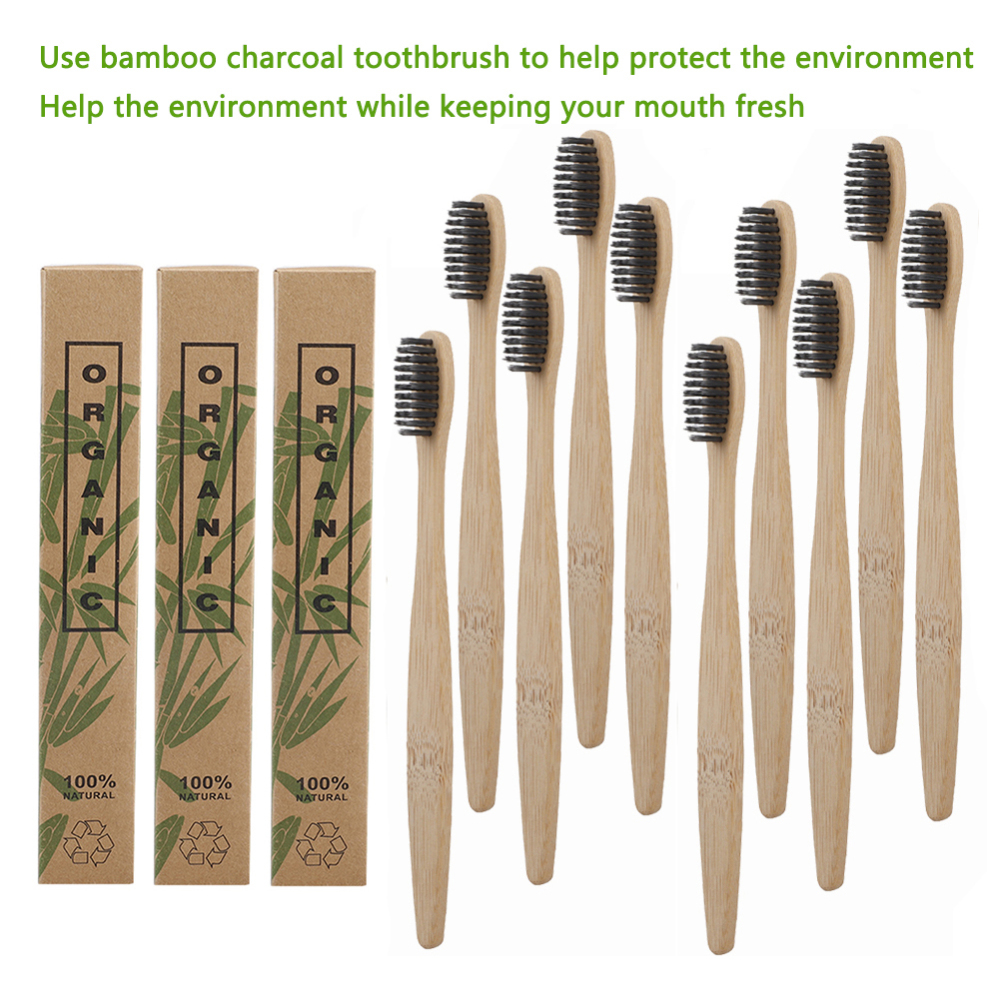 4-10pcs Bamboo Charcoal Bristle Toothbrush Wooden Rainbow Eco-friendly Adult Toothbrush Oral Care Wholesale Logo Customized