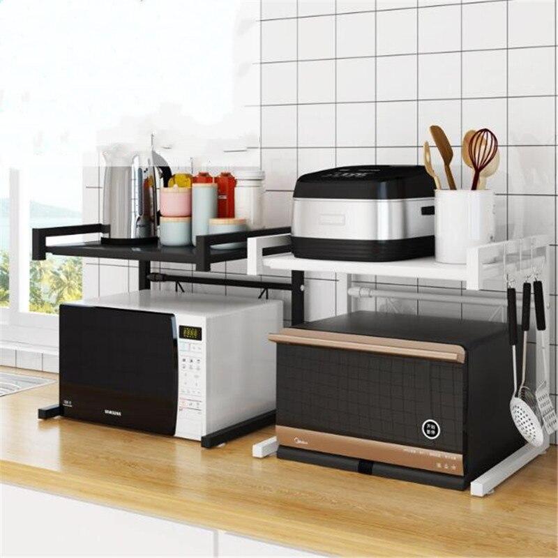 Kitchen Shelf Home Organizer Microwave Oven Stainless Steel Rack White Black Storage