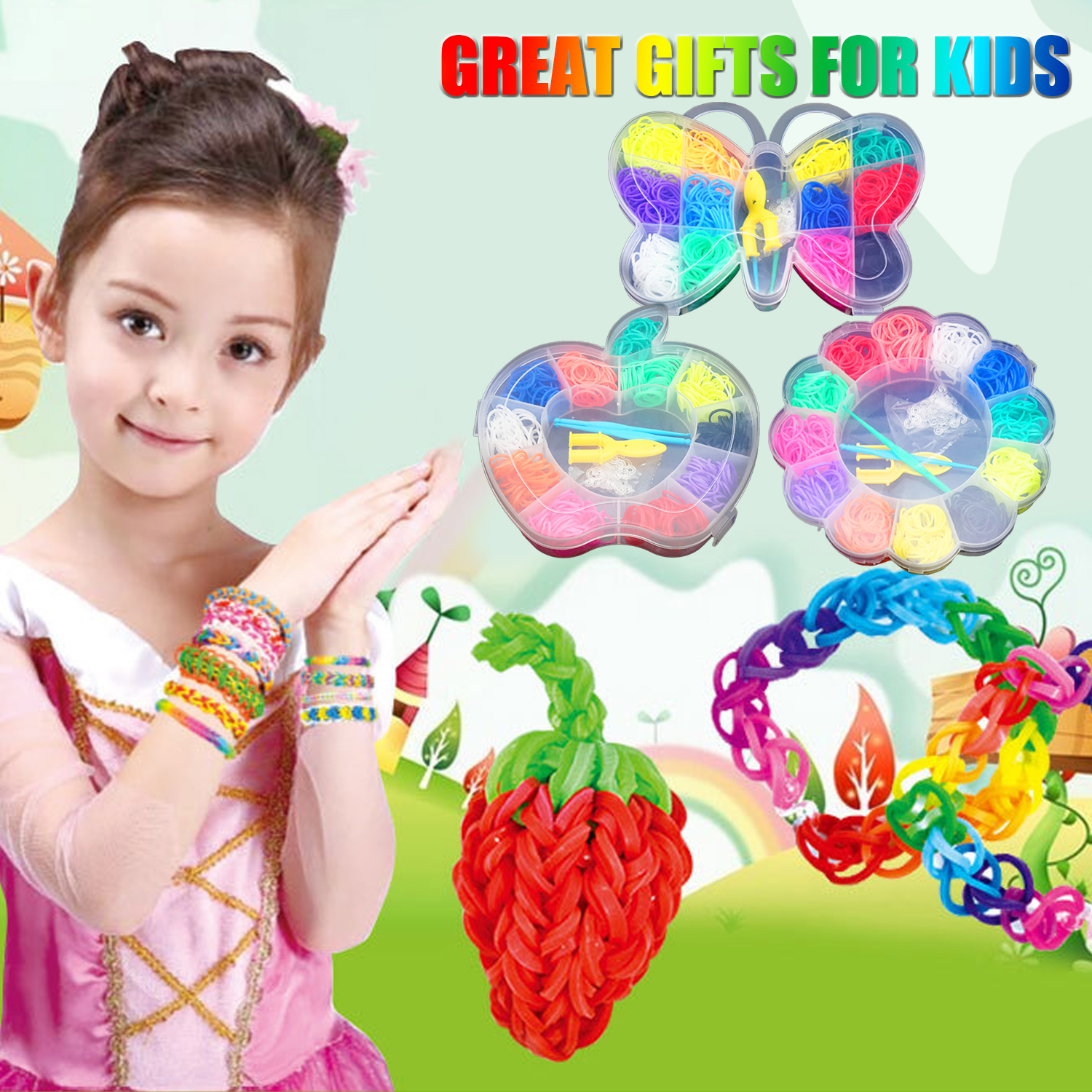 Kids Colorful Rubber Loom Bands DIY Toy 600pcs Loom Bands Refill Kit With Tools Rubber Band Weaving Making Rainbow Bracelet Toy