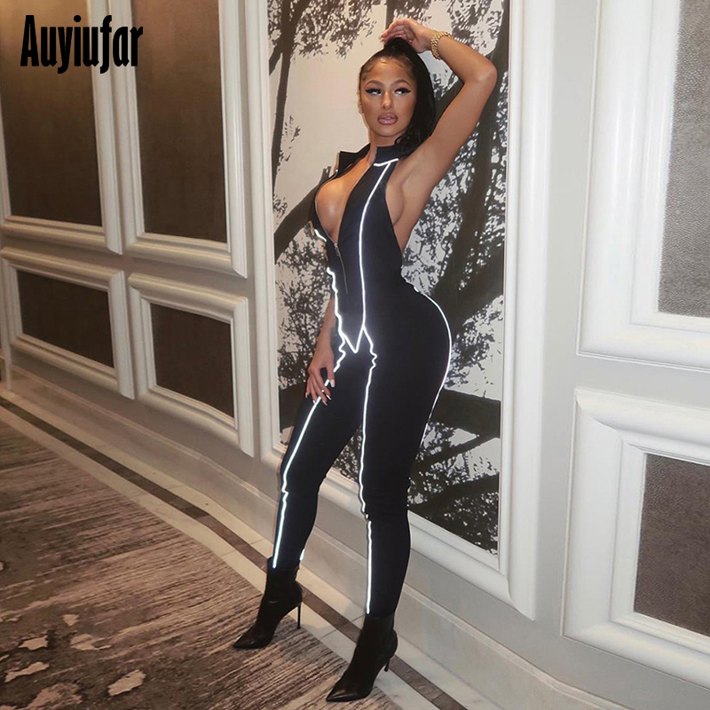 Auyiufar Sexy Backless Reflective Lines Jumpsuit Women Zipper Sleeveless Patchwork Skinny Playsuit Fashion Autumn Sporty Rompers