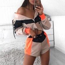 Contrast Color 2 Piece Playsuit Women Overalls Fall Short Sweatshirt Female Zipper Sexy Drawstring Hoody Jumpsuit