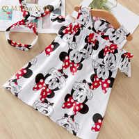 Vestido con estampado de dibujos animados de Minnie para niña, tutú de cumpleaños, ropa de verano