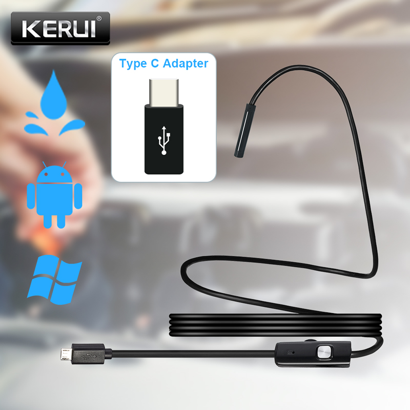 KERUI USB Mini Endoscope Camera with TYPE C Adapter Flexible Cable Snake Borescope Inspection Camera for Android Smartphone PC|Surveillance Cameras|   - AliExpress