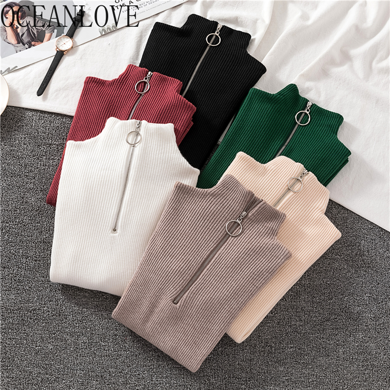 OCEANLOVE Zipper Half Turtleneck Sweater Women Solid Slim Autumn Winter Clothes 2020 Sueter Mujer Basic Fashion Pullovers 12605