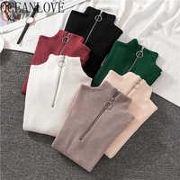OCEANLOVE Zipper Half Turtleneck Sweater Women Solid Slim Autumn Winter Clothes 2020 Sueter Mujer Basic Fashion Pullovers 12605