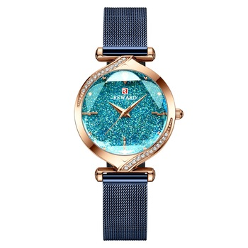2020 New Arrived  Reward Ladies Watches Quartz Diamond Women Watch Rose Gold Female Watch Mesh Belt Waterproof Women Clocks Time - E