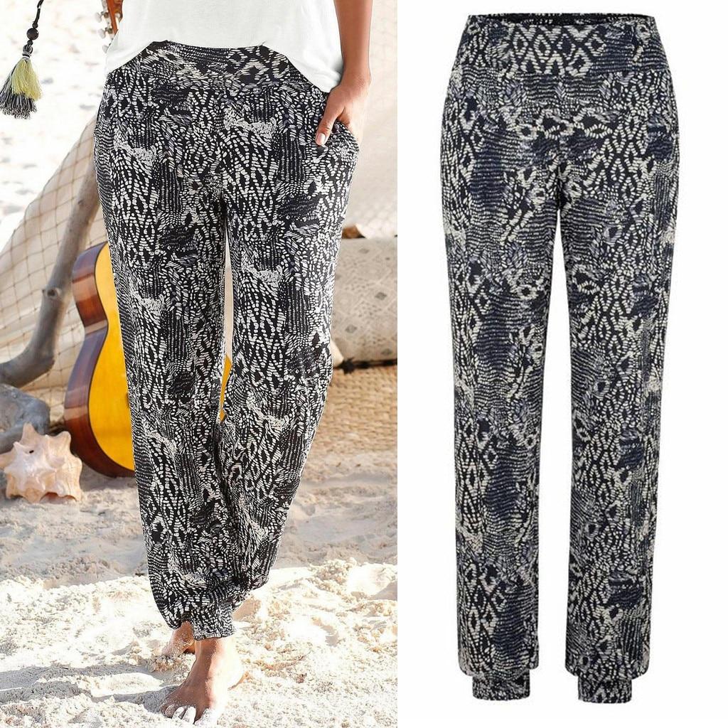 Pants - Women Striped Boho Casual Flower High Waist Trousers