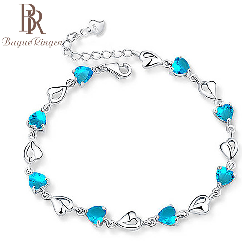 Charming bracelet Created Aquamarine 925 sterling silver