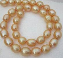 "Jewelry Pearl Necklace HOT 11-13MM NATURAL SOUTH SEA GOLDEN YELLOW PEARL NECKLACE 925silver GOLD CLASP 18 "" Free Shipping(China)"