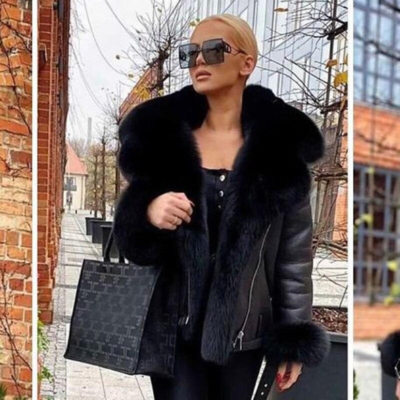 Ha112d98c268b440bb40824dcdc3777c4J Winter Real Fur Coats Natural Women High Quality Genuine Leather Jacket With Big Fox Fur Turn-down Collar Luxury Overcoats 2021