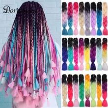 Doris beauty Ombre Jumbo Braids Synthetic Braiding Hair Crochet Braid 100g 24inch Hair Extension Pink Blue Green for Women