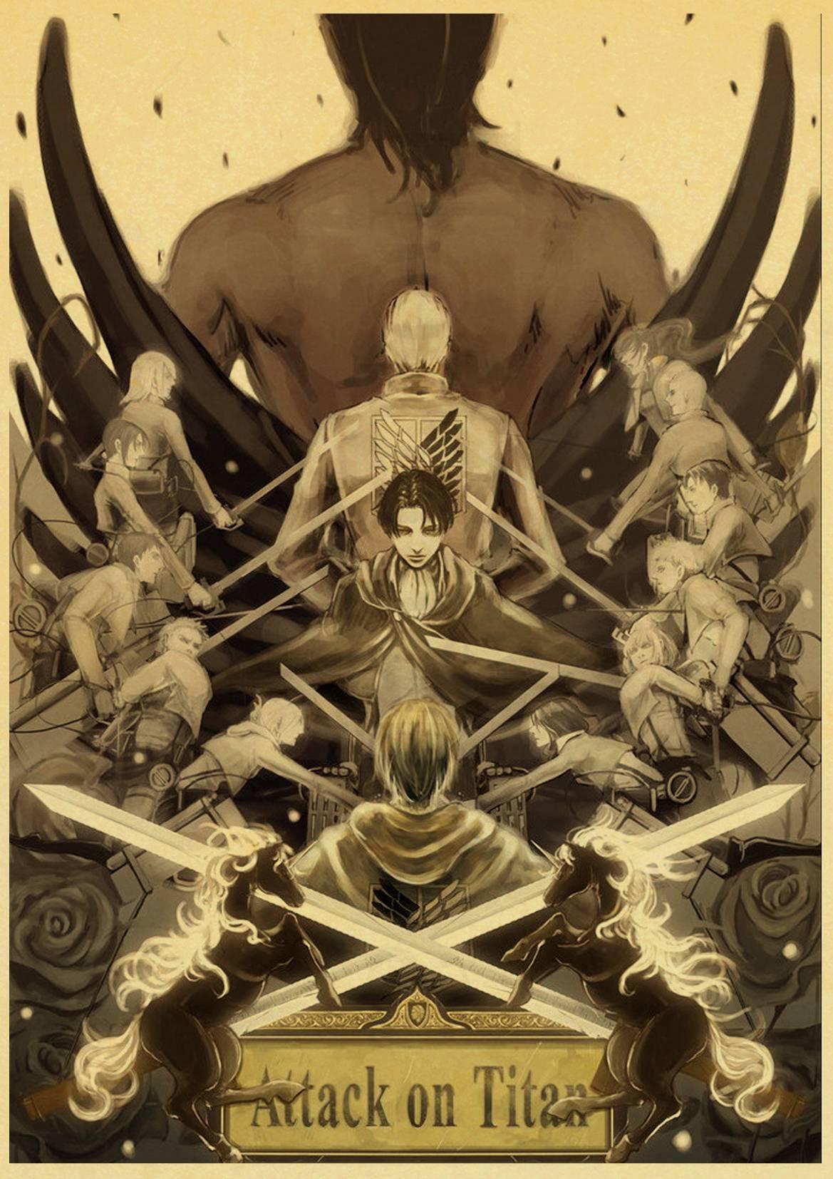 Японское аниме «атака на Титанов», ретро мультяшная живопись, домашний декор, Настенный декор, качественный холст для гостиной, художествен...