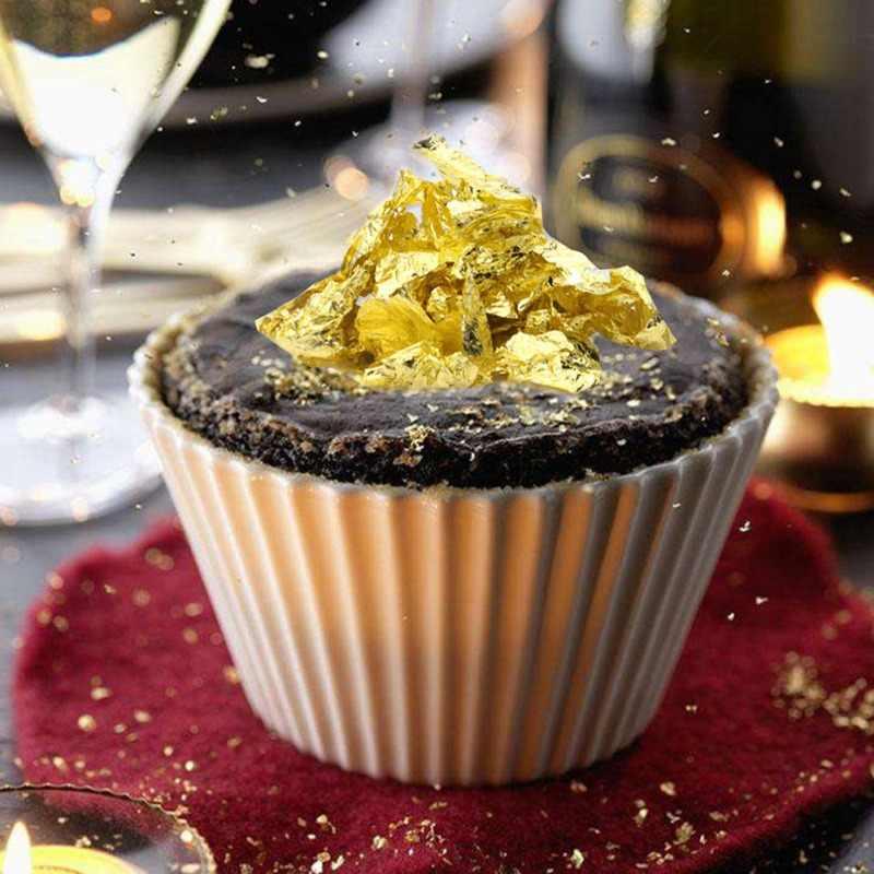 Dapat Dimakan 24K Emas Daun Lembar 10 Pcs 8X8 Cm Murni Asli Wajah Dimakan Daun Emas untuk Memasak kue Cokelat Dekorasi