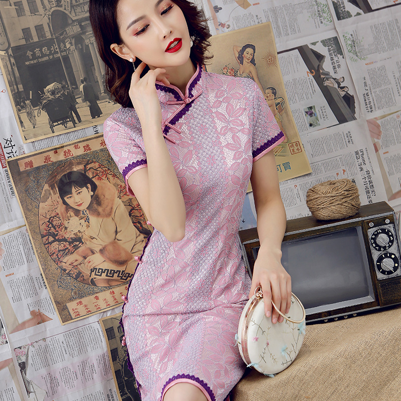 Sexy Burgundy New Female Lace Cheongsam Women Novelty Qipao Short Sleeve Elegant Chinese Dress Slim Chi-pao Vestidos Size S-XXL