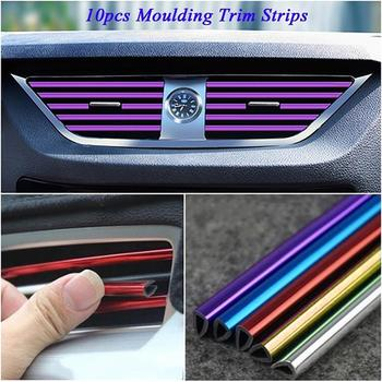 Car Interior Air Conditioner Outlet Vent Grille Chrome Decoration Strip For Volkswagens POLOs Golfs 5 6 Passats B5 B6 MK5 MK6 image