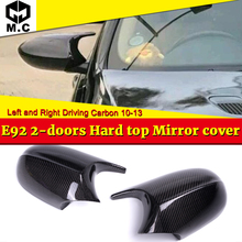 For BMW 3-Series E92 Hard Top Mirror Cover Caps Add on Style M3 Look 1:1 Replacement 100% Real Vacuumed Dry Carbon Fiber 2010-13 переноска ледобуров grivel espresso