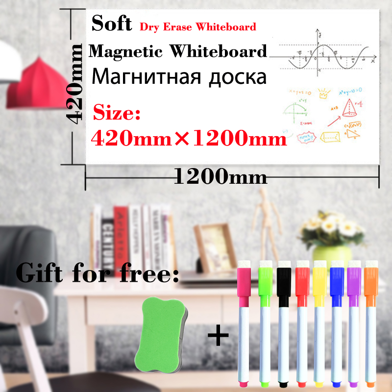420*1200mm Magnetic Wallpaper WhiteBoard Fridge Wall Stickers Kids Drawing Board School Message Boards Dry Erase White Boards