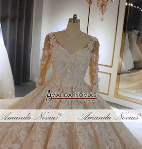 Image 3 - wedding dress 2020 Luxury Champagne Wedding Dress With Long Train Dubai