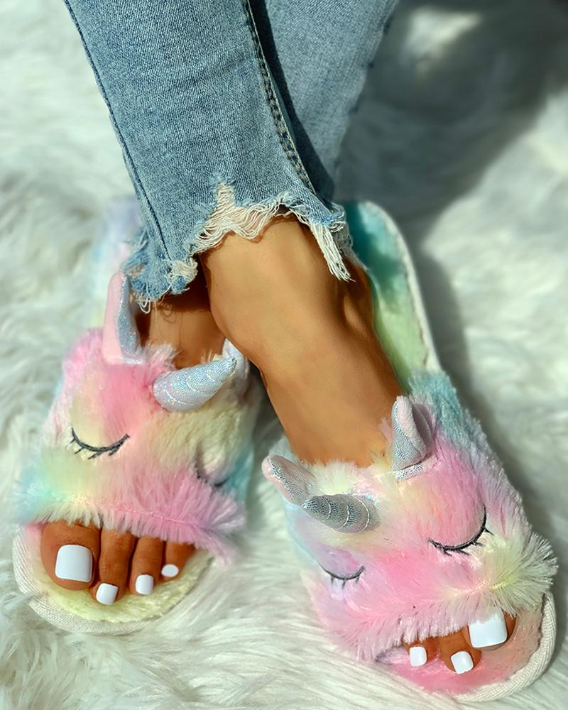 Women Slippers Fur Plush Close Eyes Unicorn Flat Heel Indoor Slides Ladies Living Room Shoes Multi Color Rianbow Home All Season