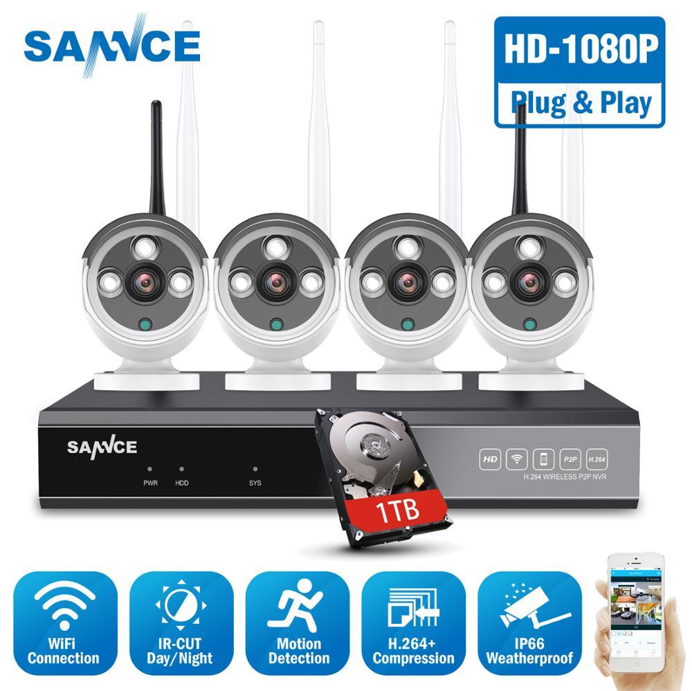 SANNCE 8CH Wireless NVR CCTV System 1080P IP Camera WIFI Weatherproof IR Night Vison CCTV Home