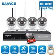 SANNCE 8CH Kablosuz NVR CCTV Sistemi 1080P IP Kamera WIFI Su Geçirmez IR Gece Görüş CCTV ev güvenlik kamerası Gözetim Kiti
