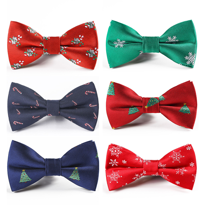 Christmas Boys Bow Ties Snowflake Fashion Party Tree Pattern Bow Tie For Children Kids Gifts Red Blue Bowtie