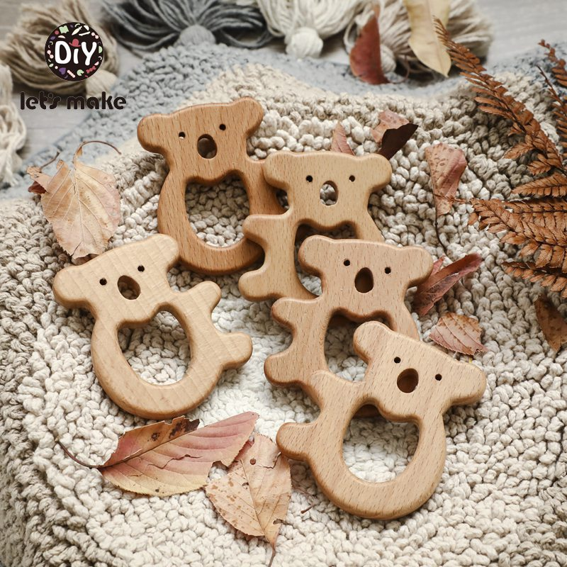 Let's Make Beech Wooden Teether Rodent Tree Baby Products For Children Olive Oil Animal Koala Elephant 1PC BPA Free Baby Goods
