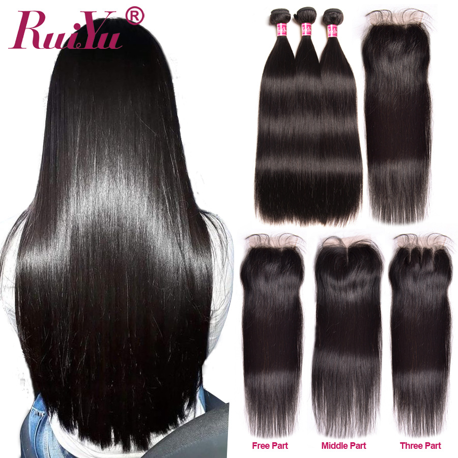 Brazilian Straight Hair Bundles With Closure Human Hair Bundles With Closure With Baby Hair Remy Bundles RUIYU Hair Weaving