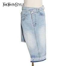 Denim Skirt TWOTWINSTYLE Clothing Asymmetrical High-Waist Fashion Women Summer for Casual