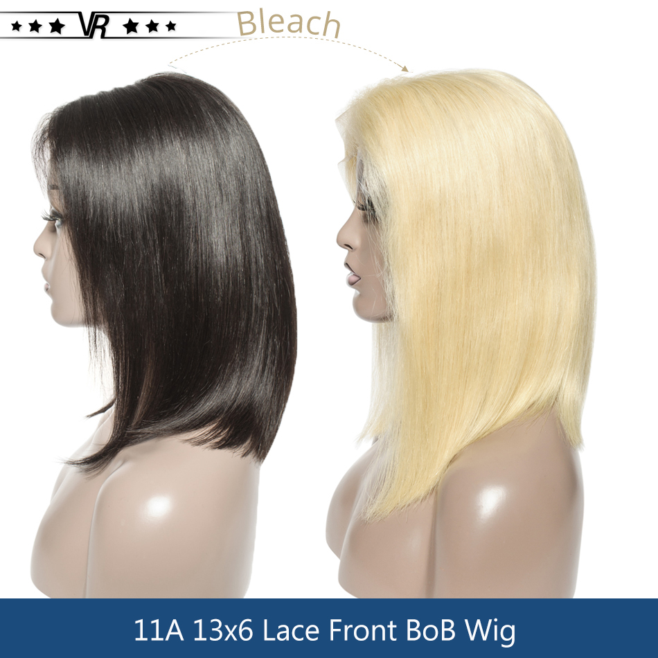 613 Lace Front Wigs Blonde Bob Straight 100% Virgin Hair 13x5 Blonde 150% Density Lace Wig Star Quality image